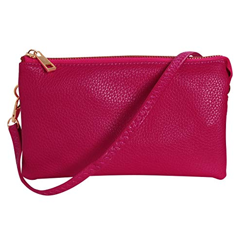 Humble Chic Vegan Leather Small Crossbody Bag or Wristlet Clutch Purse, Includes Adjustable Shoulder and Wrist Straps, Berry, Raspberry, Magenta, Dark Pink, Fuchsia