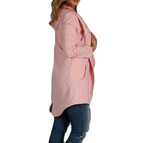 Rosa Maglia Cardigan Giacche Baggy Solidi Tempo Glamorous Eleganti Colori Lungo Giubbino Primaverile A Cappuccio Haidean Donna Giacca Libero Semplice Con Felpe RvBqww7f