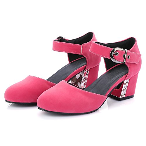 with School Mid Heel Ankle Strap Pumps Sweet Pink girls Shoes TAOFFEN XwqFF0