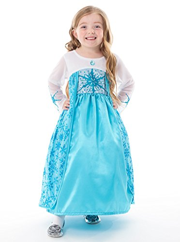 Frosty Snow Girl Costume (Little Adventures Satin Ice Princess Girls Costume - X-Large (7-9 Yrs))