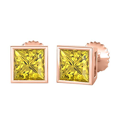 - tusakha Bezal Set Princess Cut Created Yellow Sapphire (5MM) Solitaire Stud Earrings 14K Rose Gold Over .925 Sterling Silver