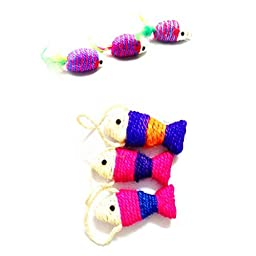 Set of 6 Colorfull Rattling Toy Mice Fishes Rattles Sisal Rope Weave Toy Chew Toys for Cats