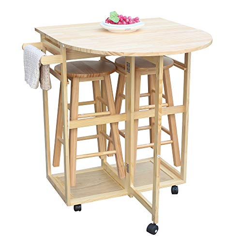 Festnight 3 Piece Folding Rolling Dining Table Cart with 2 Round Stool and Storage Drawers Wheeled Portable Breakfast Semicircle Desk Bar Set Kitchen Home Bistro Pub Hotel Indoor Outdoor Furniture