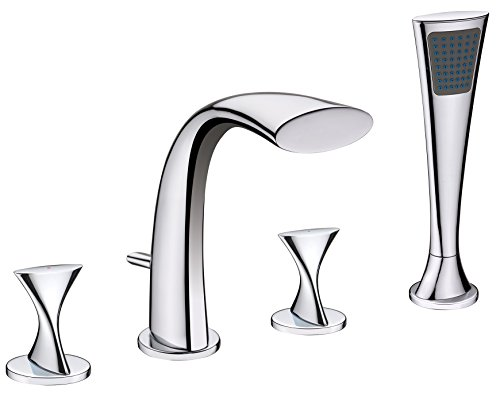 (Ultra Faucets UF65340 Twist Collection Two-Handle Roman Bathtub Faucet with Hand-Shower, Chrome)