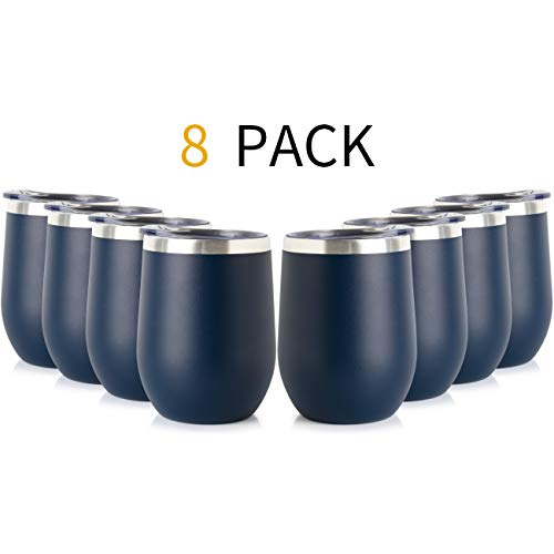 ONEB Stainless Steel Wine Tumbler with Lid, 12 OZ | Double Wall Vacuum Insulated Travel Tumbler Cup for Coffee, Wine, Cocktails, Ice Cream Cup With Lid (Navy, 12OZ-8pack)