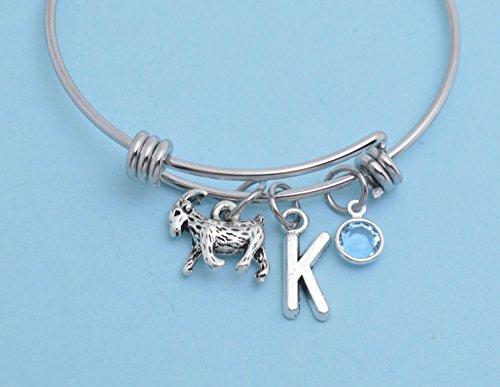 (Little Girl's Goat Bangle Bracelet in stainless steel. Little girls jewelry. Little girls bracelet. Goat gifts. Goat jewelry.)