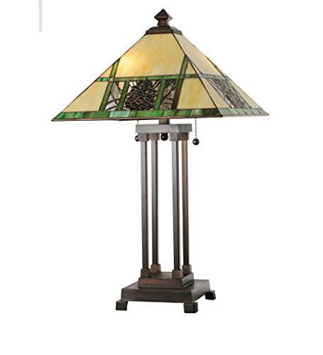 Tiffany Style Stained Glass Pinecone Ridge Table Lamp