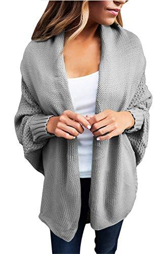 Monocromo Abbigliamento Autunno Fashion Primaverile Giacca Giacche Maglia Forcella Eleganti Aperto Grau Relaxed A Outerwear Cappotto Manica Tempo Donna Libero Huixin Pipistrello OYvPwqn1X1