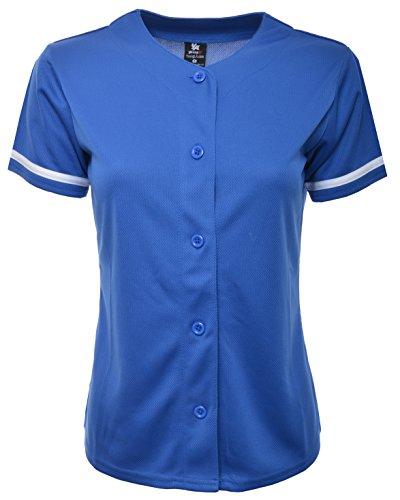 YoungLA Women Baseball Jersey Plain Button Down Shirt Tee 420 Blue Medium ()