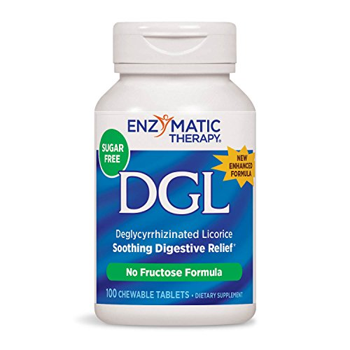 Licorice Dgl Chewable - Enzymatic Therapy, DGL (Without Fructose), 100 Chewable Tablets. Pack of 2 Bottles