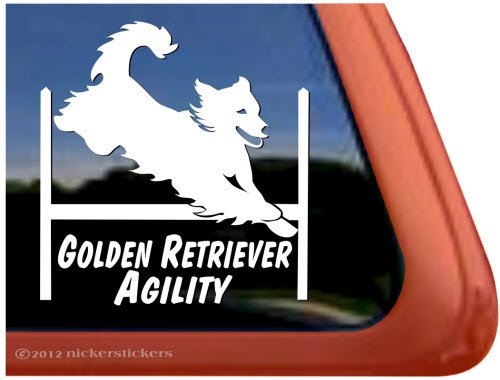Golden Retriever Agility ~ Agility Dog Agility Golden Retriever Vinyl Window Decal Sticker