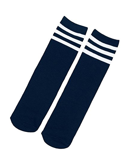 Ewandastore 1 Pair Cotton Over Knee Long Soccer Socks,Breathable Team School Socks for 4-10 Years old Kids Girls Boys Toddlers(Navy Blue - Blue Shorts Navy Old