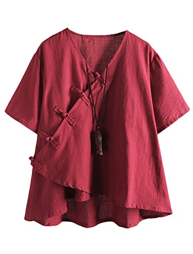 Manches Col Lin Top Femme Longues Model MatchLife Shirt Classe en V Style2 T rouge Tunique Chinois HwExC7A