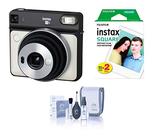 Fujifilm Instax Square SQ6 – Instant Film Camera – Pearl White, Bundle Instax Square Instant Film, Twin Pack, White Frame (20 Exposures) + ProOPTIC Cleaning Kit