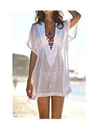Bestpriceam Fashion Sheer Chiffon V-Neck Swimsuit Cover Up / Beachwear Dress