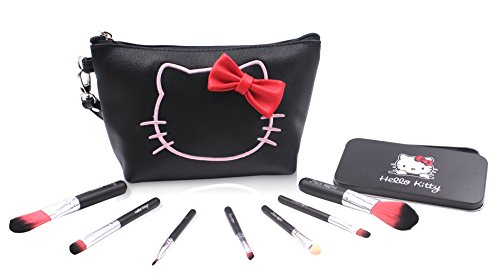 Finex Hello Kitty Black PU Leather Cosmetic Bag + Makeup Brushes SET - Multifuction Travel Make up handbag with zipper and 7 Make-up Brushes in a Black Tin Box from Finex