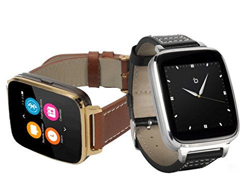 Bit Full Function Smart Watch for Apple/Android devices. Classical Elegance with Communications, Fitness, Music & Camera control. Silver with black calfskin leather strap by Bit