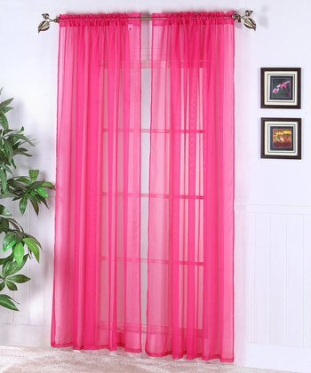 2 Piece Solid Neon Pink Sheer Curtains Fully Stitched Panels Window Drape 54quot