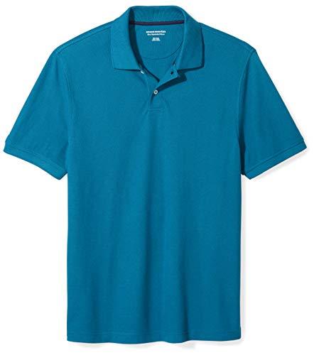 Amazon Essentials Men's Slim-Fit Cotton Pique Polo Shirt, Dark Teal, ()