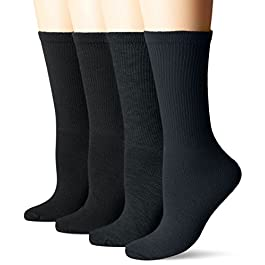Dr. Scholl's Women's Guaranteed Comfort Diabetic and Circulatory crew 4 Pack Socks