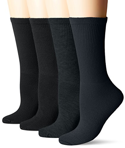 Dr. Scholl's Women's Guaranteed Comfort Diabetic and Circulatory crew 4 Pack Socks,Black, 4-10