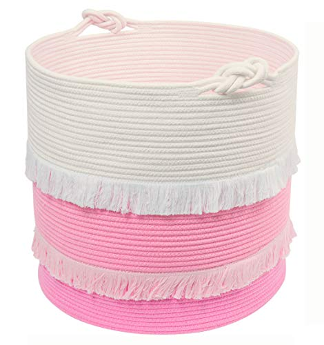 Extra Large Woven Storage Baskets – 16'' x 17'' Cotton Rope Decorative Pink Hamper for Nursery, Toys, Blankets, and Laundry, Cute Tassel Nursery Décor for Baby & Girl