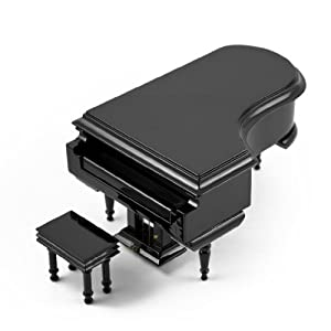 Amazing 18 Note Miniature Musical Hi-Gloss Black Grand Piano With Bench - Teddy Bear's Picnic (John W Bratton)