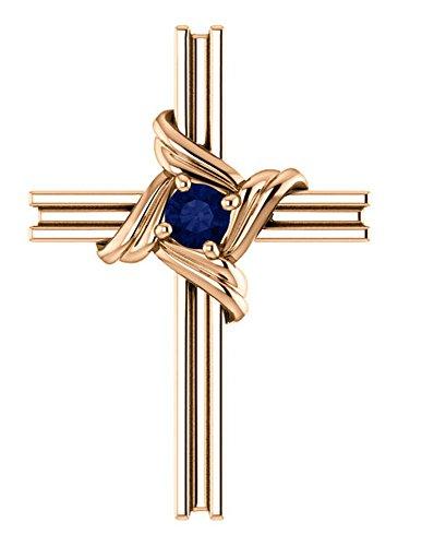 Blue Sapphire Cross 14k Rose Gold Pendant (18.10X12.80 MM)