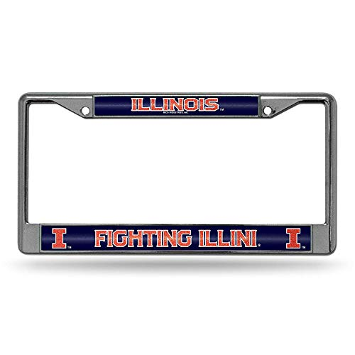 Eletina Star NCAA Bling Chrome License Plate Frame with Glitter Accent