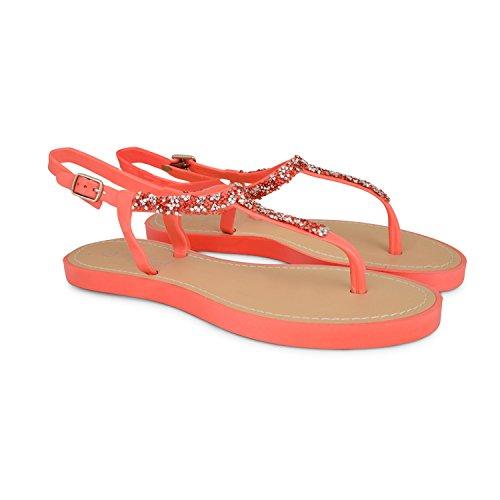 Footwear Sensation - Sandalias para mujer - 821-Coral