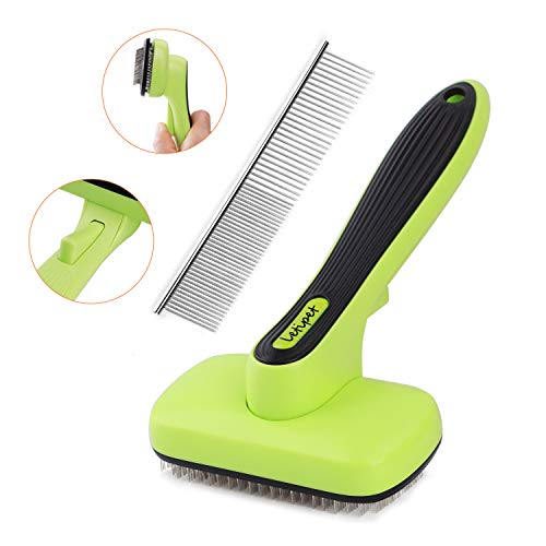 Dog Brush Dog Grooming Brush Self Cleaning Slicker Brush and A Metal Comb – Professional Pet Grooming Brush for Small…