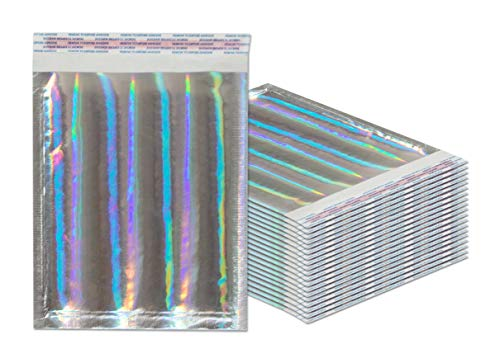 Bubble mailers 6.5 x 9 Padded envelopes 6 1/2 x 9 by Amiff. Pack of 20 Hologram cushion envelopes. Exterior size 8 x 9.5 (8 x 9 1/2). Peel & Seal. Holographic. Glamour Metallic foil. Mailing, shipping