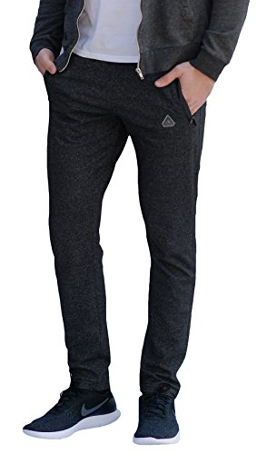 - SCR SPORTSWEAR Men's Soccer Track Training Pants Athletic Sweatpants with Zipper Pockets Black Heather Grey Short Long Inseam (Medium x 33L, Heather Grey)
