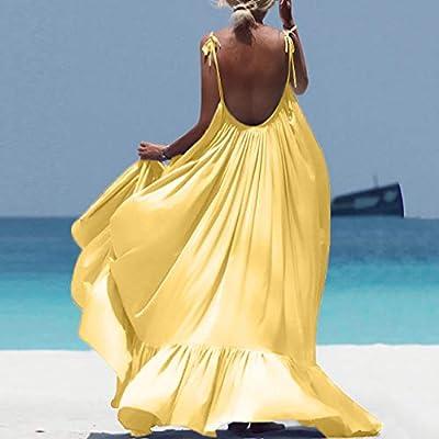 Women Boho Maxi Solid Sleeveless Long Backless Dress Evening Party Beach Dress