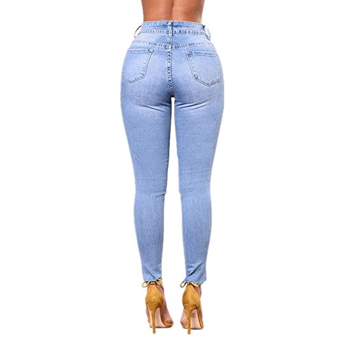 Da Ricamo Jeans Con Wai Hu Alta Elasticizzato A New Donna Foro E Lan Shuo Vita Blue 5wq6IxXq