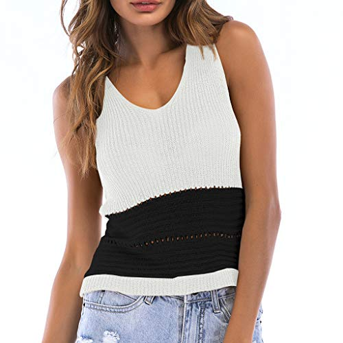 yoyorule Women Hook Flower Hollow Color Matching V-Neck Knit Top Sleeveless Vest Blouse White (Mixed Towelettes)