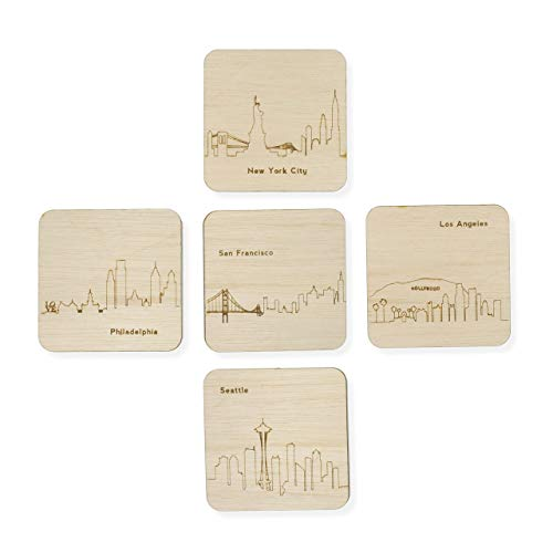 Custom Wood City Coasters San Francisco Philly Philadelphia Seattle Los Angeles New York Set of 4 Artisan Designed Laser Cut ()