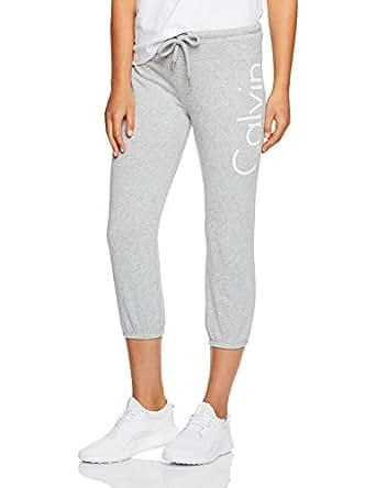 Calvin Klein Women's Crop Terry Logo Sweatpant, Pearl Grey Heather, Large