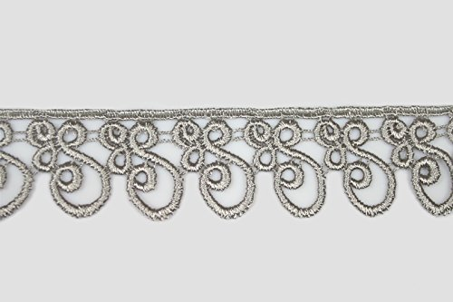 """Silver Gray 5/8"""" to 5-1/8"""" Embroidered Floral Venice Lace Trim Guipure By Yard (BB049 (1.25"""