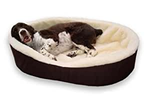 """American Made 40"""" XL Dog Bed King USA Cuddler. Brown/Imitation Lambswool. Size: 40x28x7"""". Removable Washable Cover"""