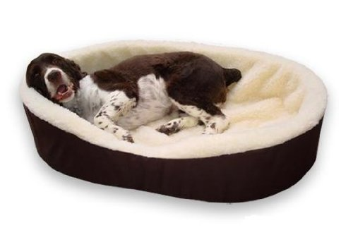 Dog Bed King Cuddler American Made Medium Brown/Imitation Lambswool. Size: 27x21x7. Removable Washable Cover. 35