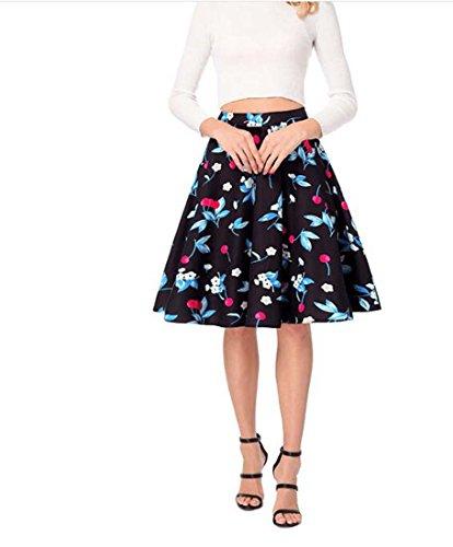 HEFEI Jupe plisse  Taille Haute pour Femme XIAOXAIO (Couleur : Bleu, Taille : XL)