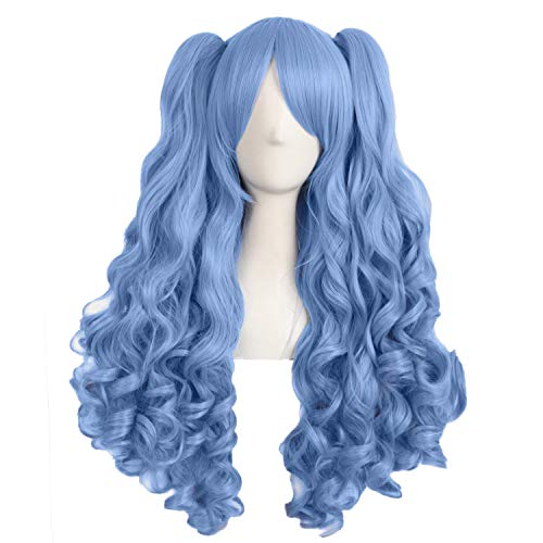 MapofBeauty 28 Inch/70cm Lolita Long Curly 2 Ponytails