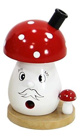 Joli Encens champignon avec handgemalten opag esicht, Dekohelden24
