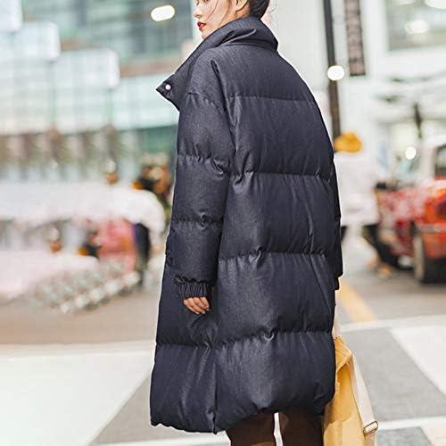 Down jacket Piumino Invernale Colletto alla Coreana Grande Tasca Maniche a Spalla Maniche Calde Piumino Lungo Cappotto