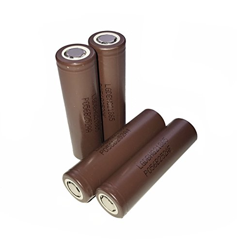 (AllForBest 4pcs Compatible LG-HG2 3000mAh 3.7v 20A Rechargeable Flat Top Battery for Flashlight)