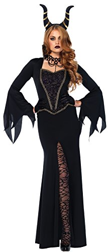 UHC Women's Evil Enchantress Maleficent Dress And Horns Outfit Halloween Costume, XL (14-16) (Disney Villain Costume)