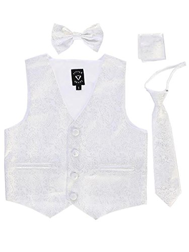 White Paisley Infant Boys 4 Piece Formal Satin Vest Set Zipper Tie Bowtie Hanky 18-24 Months