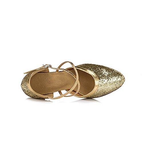 Misu Women's Closed toe Suede Sole Latin Salsa Tango Practice Ballroom Dance Shoes with 3.3