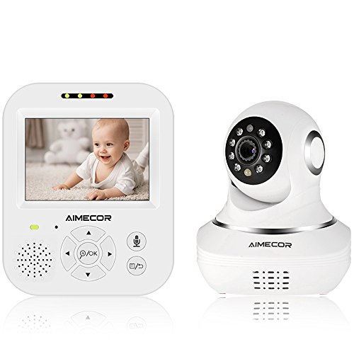 Pan Tilt Color Monitor (Wireless Video Baby Monitor with 3.5'' Digital Color LCD Screen,Pan/ Tilt,Infrared Night Vision, Temperature, Two Way Talk Function and Lullabies Includes Compatible Mount Shelf)